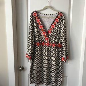 Dresses & Skirts - Espresso/Beige V Neck Dress plus size!